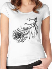PEACOCK BIRD FEATHER  Women's Fitted Scoop T-Shirt