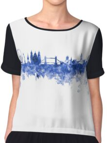 London skyline in blue watercolor on white background Chiffon Top