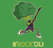 Funny cartoon broccoli playing electric guitar Kids Tee