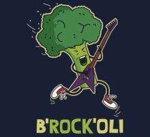 Funny cartoon broccoli playing electric guitar One Piece - Short Sleeve