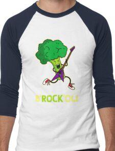 Funny cartoon broccoli playing electric guitar Men's Baseball ¾ T-Shirt