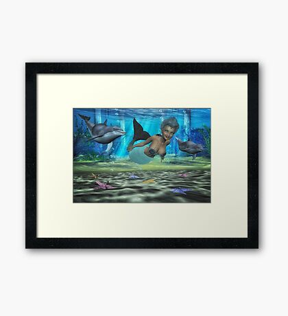 Swimming With The Dolphin's Framed Print