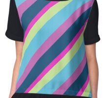 Summer fun Blue pink lime Colorful lines Chiffon Top