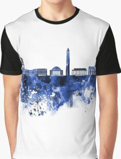 Washington DC skyline in blue watercolor on white background  Graphic T-Shirt
