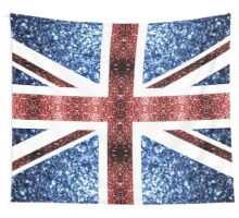 United Kingdom UK flag blue and red sparkles Wall Tapestry