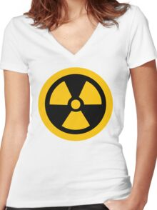 Yellow Radioactive Women's Fitted V-Neck T-Shirt