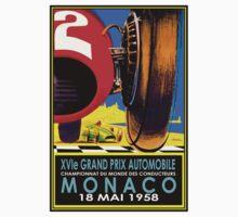 """MONACO GRAND PRIX"" Vintage Auto Racing Advertising Print One Piece - Short Sleeve"