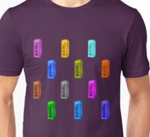 Phone booth on lilac grey background Unisex T-Shirt