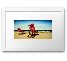 Crimson Beach Chairs  Framed Print