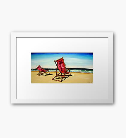 Crimson Beach Chairs  Framed Print