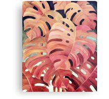 Monstera Love in Magenta and Coral - oil painting Metal Print