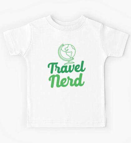 Travel Nerd (with world globe) Kids Tee