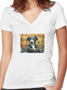 Ringo Takes a Selfie Women's Fitted V-Neck T-Shirt