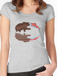 salmon eat bear Women's Fitted Scoop T-Shirt