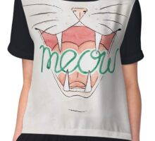 Meow - Watercolour Illustration of Cat Mouth, Nose and Whiskers With Calligraphy Lettering Quote Chiffon Top