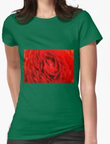 Closeup red English Rose flower background Womens Fitted T-Shirt