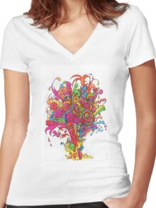 Psychedelic Fountain of Color Women's Fitted V-Neck T-Shirt
