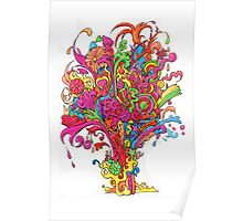 Psychedelic Fountain of Color Poster