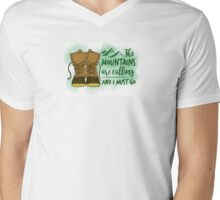 New England Boot Mountains Mens V-Neck T-Shirt