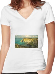 Godrevy Seascape  Women's Fitted V-Neck T-Shirt