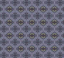 wildflowers and hearts teal and mauve damask pattern by Dawna Morton