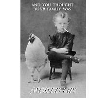 Funny Greetings Card: Smoking Boy with Chicken Photographic Print
