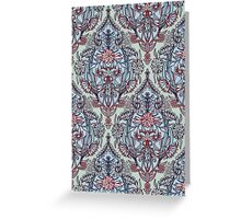 Botanical Moroccan Doodle Pattern in Navy Blue, Red & Grey Greeting Card