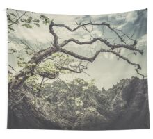 The tree and the mountains Wall Tapestry