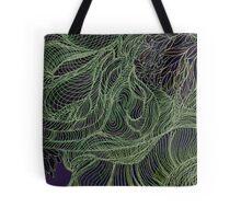 """""""Tree Hugger - Green on Egg Plant"""" Tote Bag"""