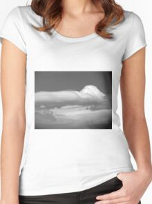 Black And White Cloud 3  Women's Fitted Scoop T-Shirt
