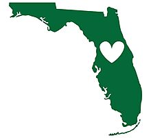 Florida is Where the Heart is (Green) Photographic Print