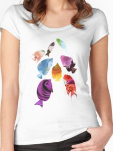 Fish shaped Flowers Women's Fitted Scoop T-Shirt
