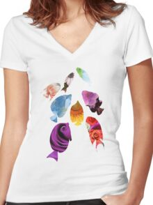 Fish shaped Flowers Women's Fitted V-Neck T-Shirt
