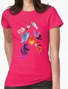 Botanical Fish shaped Flowers Womens Fitted T-Shirt