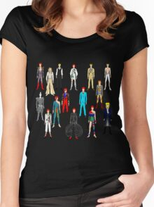 Bowie Scattered Fashion on Black Women's Fitted Scoop T-Shirt