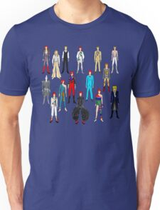 Bowie Scattered Fashion on Gray Unisex T-Shirt