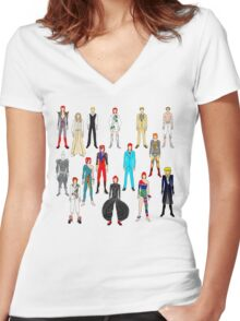 Bowie Scattered Fashion on White Women's Fitted V-Neck T-Shirt