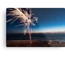 Fireworks on the Beach at Sunset Metal Print
