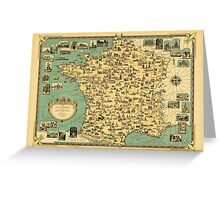 Map Of France 1935 Greeting Card