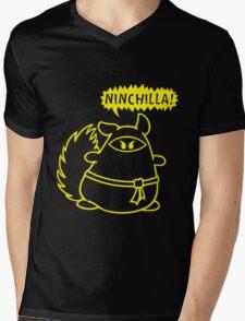 The Ninja Chinchilla - Yellow Mens V-Neck T-Shirt