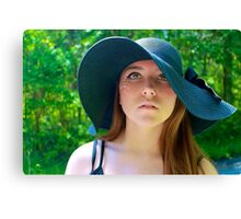 Girl with Floppy Hat Canvas Print