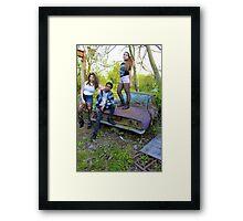 Grungy Teens on Car Framed Print