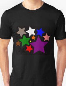 Black Rainbow Stars Unisex T-Shirt