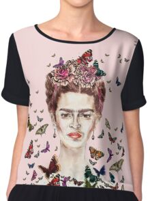 Frida Kahlo Flowers Butterflies Chiffon Top