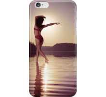 Woman dancing in morning sunlight on water art photo print iPhone Case/Skin