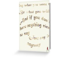 Golden rules Greeting Card