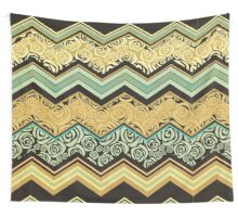 Chevron,zigzag,floral,collage,mixed,pattern,brown,yellow,beige,black,teal, ,roses,trendy,modern,contemporary,girly,cute,decorative,decor Wall Tapestry