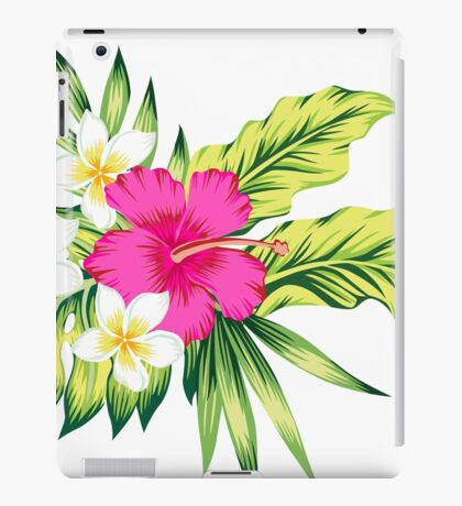 Hot Pink Hibiscus & Tropical Flowers iPad Case/Skin