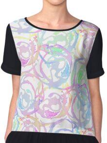 Colorful Watercolor Brushstroke Abstract Circles Chiffon Top