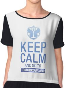 Keep Calm and go to Tomorrowland - blue gradient Chiffon Top